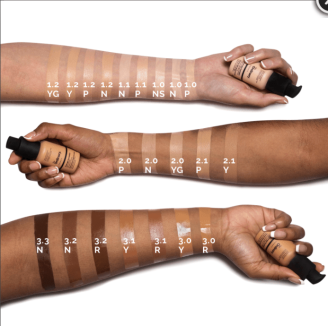 Colour swatches of The Ordinary Foundation