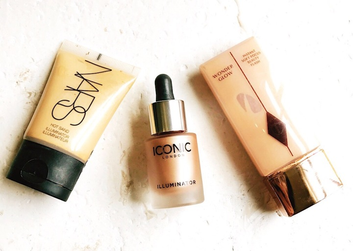 Get glowing skin - Nars hot sand illuminator image; iconic london illuminator drops image; charlotte tilbury wonderglow image